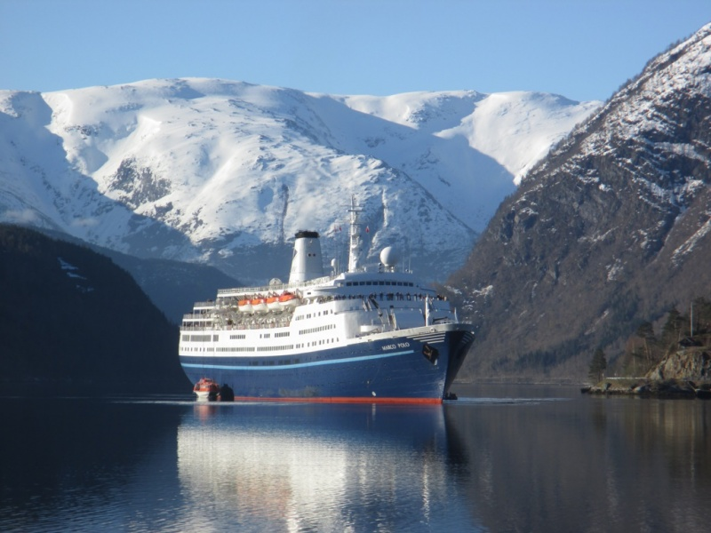 The classic Marco Polo sailing for Cruise & Maritime Voyages stops in Ulvik