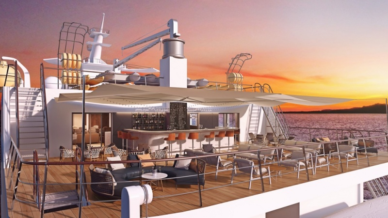 The outdoor bar and dining area aboard the new Coral Adventurer, which enters service in the first quarter of 2019.