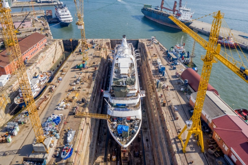 The SeaDream I in drydock at Naval Rocha