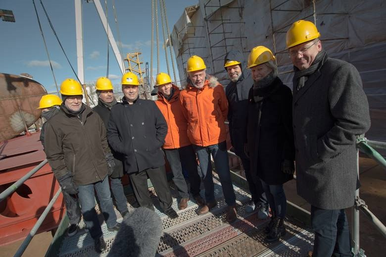 Sven Lindblad, CEO & President of Lindblad Expeditions, was joined by members of his team, and representatives from Ulstein and CRIST at the laying of the keel in Gydnia, Poland.