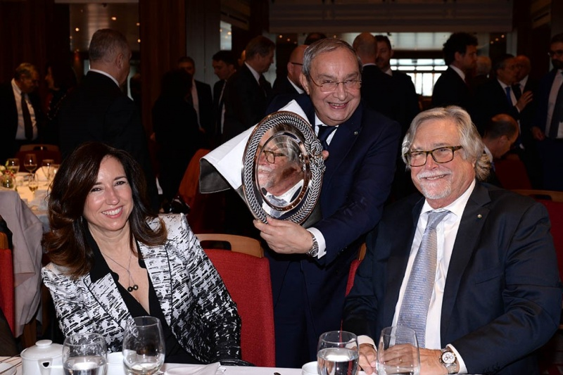 From left: Christine Duffy, president of Carnival Cruise Line; Giuseppe Bono, CEO of Fincantieri; and Micky Arison, chairman, Carnival Corporation