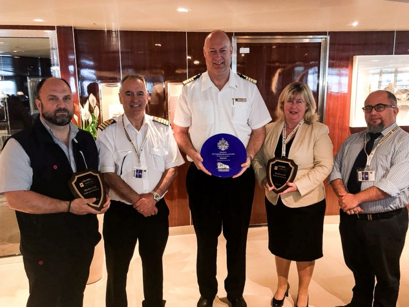 Representatives from the Gibraltar Tourist Board, the Gibraltar Port Authority and local shipping agents MH Bland attended the customary ceremony onboard, where an exchange of plaques took place with the Captain of the ship