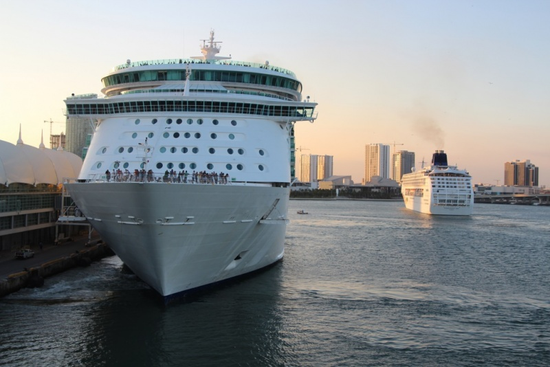 Royal Caribbean and Norwegian Ships in PortMiami