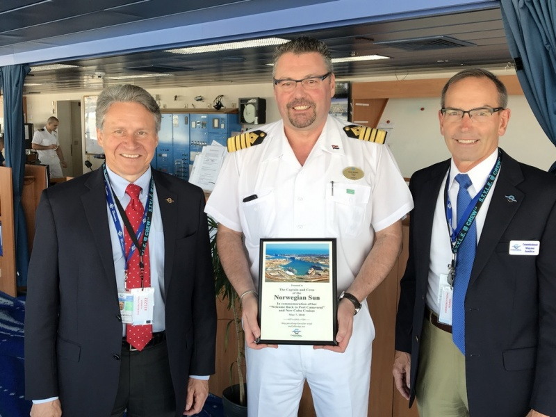 L to R: Capt. John Murray, Port Canaveral CEO, Norwegian Sun Capt.  Teo Grbic, Admiral Wayne Justice, Chairman, Canaveral Port Authority. Photo: Canaveral Port Authority