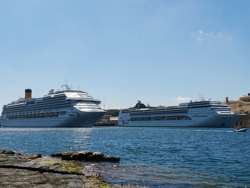 Costa and MSC Ships in Valletta