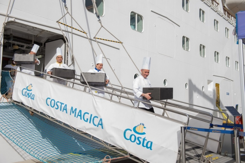 Chefs donate food from the Costa Magica
