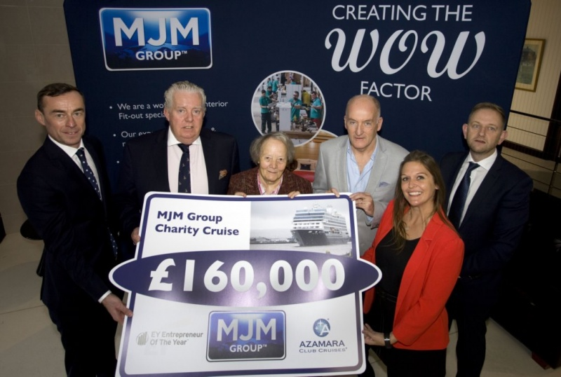 Nine local and national charities were the recipients of £160,000 which was raised by MJM Group who organised a Charity Cruise on board the Azamara Pursuit following it's historic refit in Belfast.  MJM Group were supported by Azamara Club Cruises and EY Entrepreneur Of the Year.  The charities who benefited from the money are Cuan Mhuire, Pieta House, Mercy Ships, PIPS Hope and Support, Clic Sargent, RNLI, Tinylife, Carcullion Gateway in Hilltown and Newry Gateway. Pictured at the cheque presentation event are (l to r) Rob Heron, Partner Lead for the EY Entrepreneur of the Year Programme, Brian McConville, Chairman MJM Group, Sr Consilio, founder of Cuan Mhuire, Eamonn Duignan, Head of Finance for Pieta House, Charlene Cree, Corporate Partnership Manager for Mercy Ships and Gary Annett, CEO MJM Group.