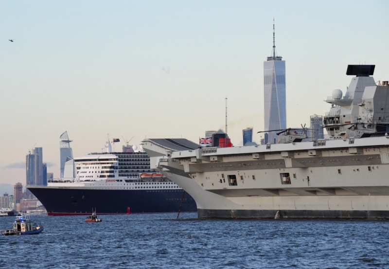 Queen Mary 2 and HMS Queen Elizabeth  Meet for Royal Reception in New York Harbor