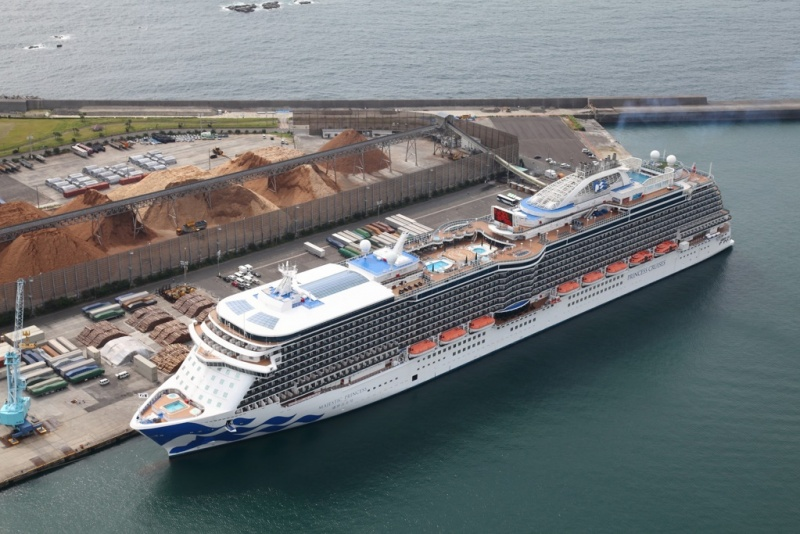 The Majestic Princess tries out an expanded berth in Aburatsu.