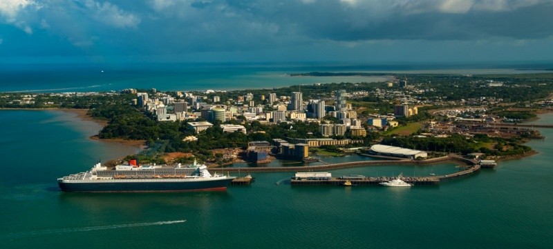 The Queen Mary 2 docks in Darwin in the Northern Territory.