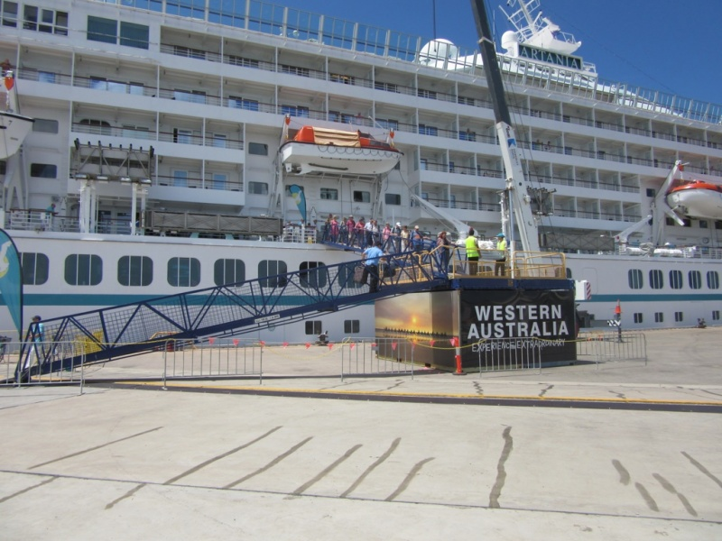 Artania guests disembark in Broome
