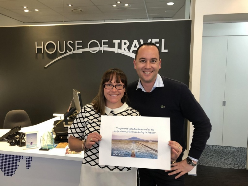 Pictured with Princess Cruises Business Development Manager NZ Peter Tuki (right) is the major prize winner Kirsty Marquis from House of Travel Merivale in NZ. She is looking forward to her cruise, which departs on the 19th April 2019.