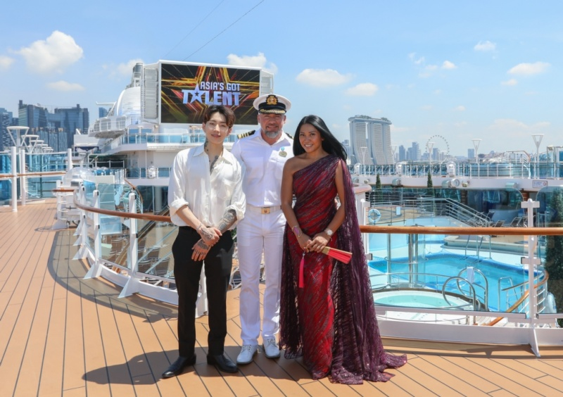 Asia's Got Talent judges with Captain Dino Sagani onboard Majestic Princess