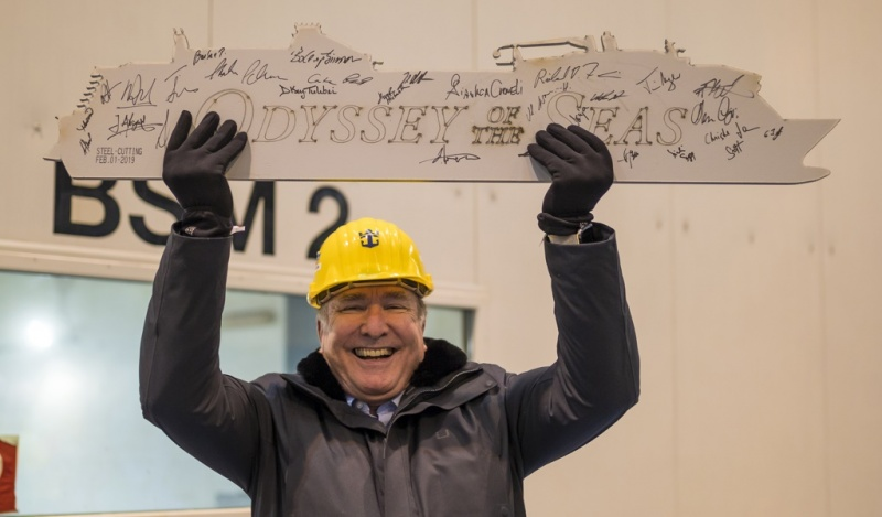 Chairman Richard Fain at the steel cutting for the Odyssey of the Seas