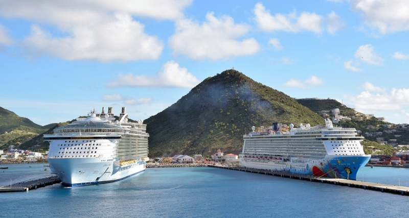 Oasis of the Seas and Norwegian Breakaway in St. Maarten