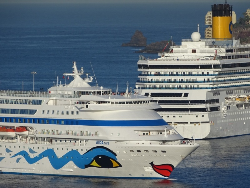 AIDA and Costa Ships in Port