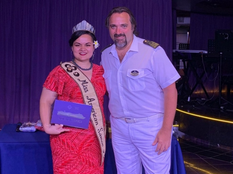 Miss American Samoa, Magalita Johnson and Captain Marco Massa of the MSC Magnifca