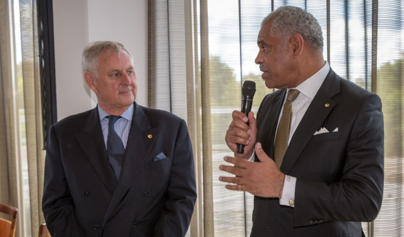 Commodore David L. Christie (left) with Arnold Donald, president and CEO of Carnival Corporation