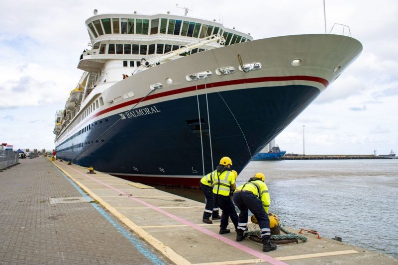 Fred. Olsen Cruise Lines' flagship Balmoral makes her maiden call at Great Yarmouth, Norfolk on 17th September 2019