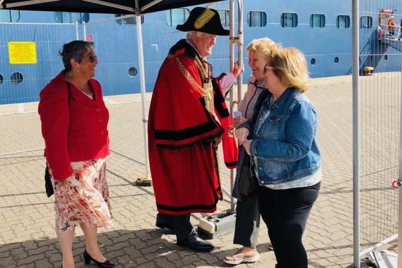 The Mayor of Great Yarmouth, Councillor Michael Jeal, and the Mayoress, wife Paula, greet Fred. Olsen guests, as they set off to explore Great Yarmouth and surrounding areas.