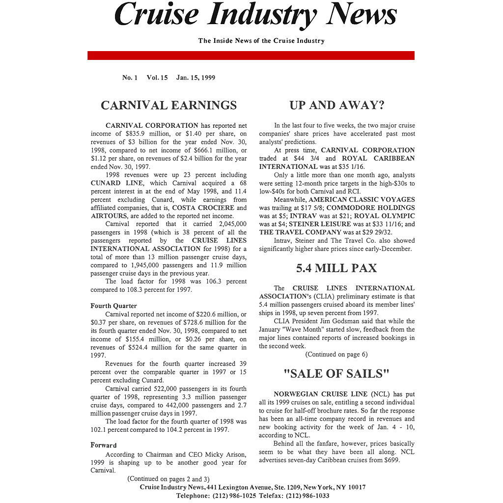 CIN Newsletter Archive: 1999 Edition