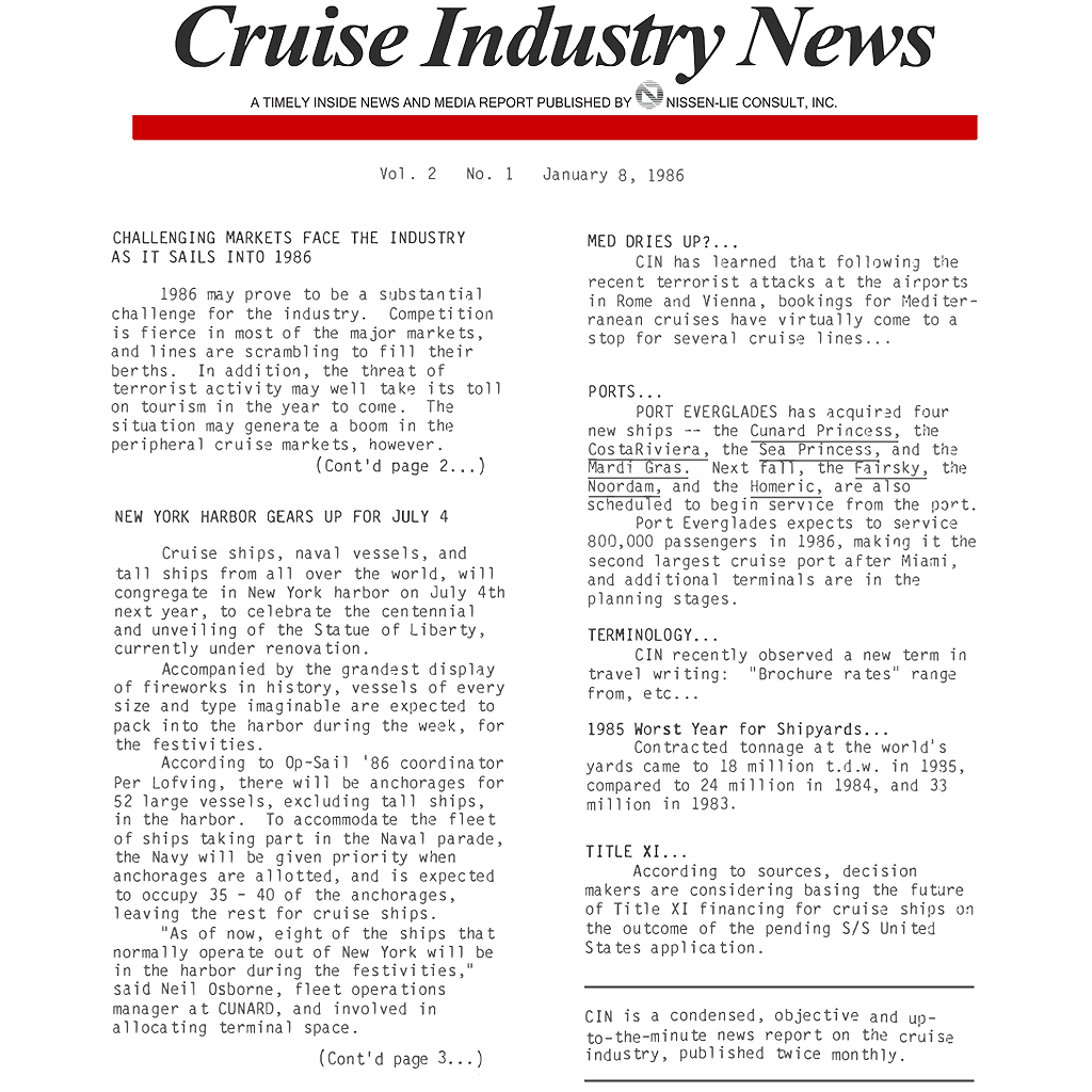 CIN Newsletter Archive: 1986 Edition