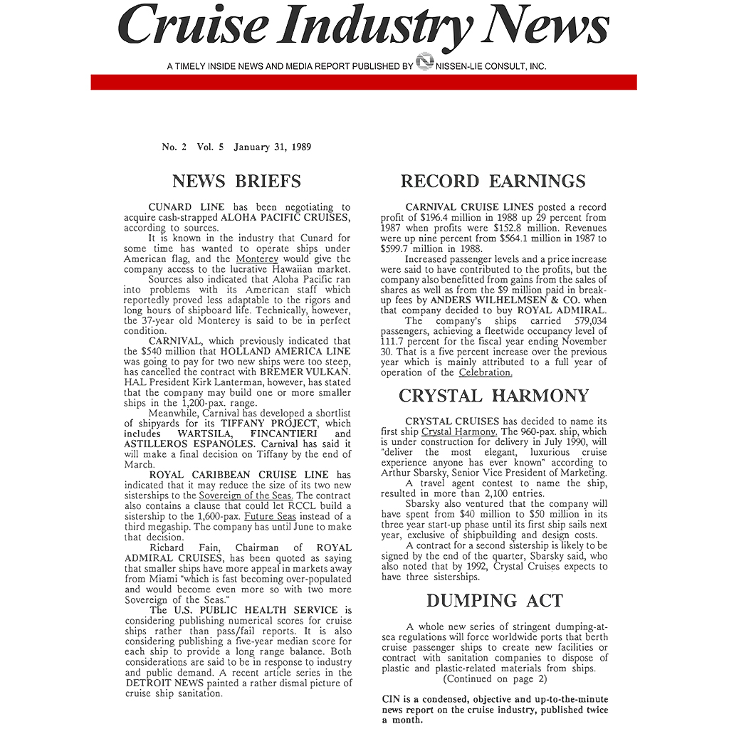 CIN Newsletter Archive: 1989 Edition